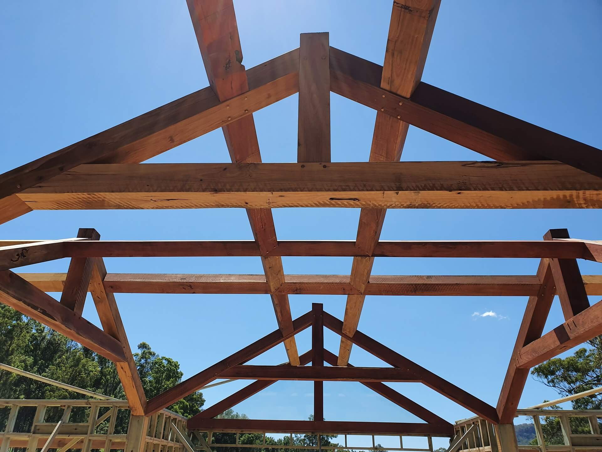 Installed timber roof frame featuring heavy timber double purlins intersect in the center of the room supported by timber feature trusses