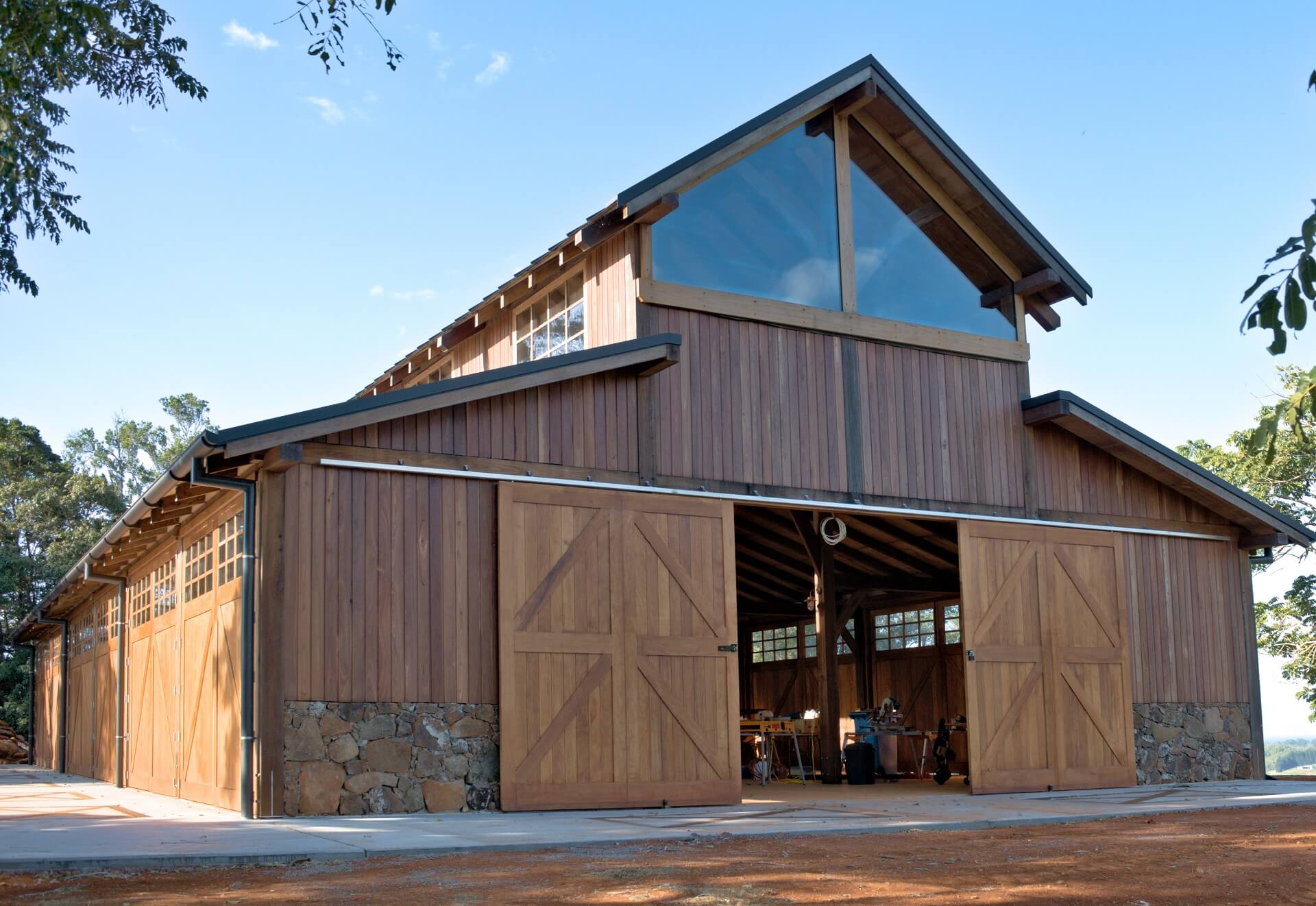 Exterior shot of the almost completed authentic timber barn, with only interior fitout remaining.